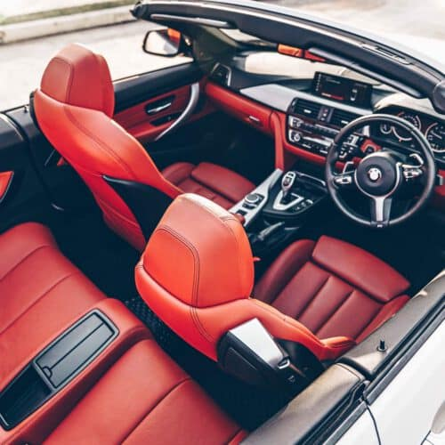 Red Interior 2 of BMW 4 Series Convertible Rental